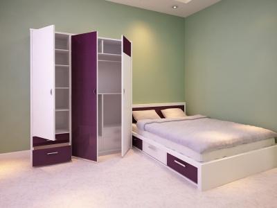 Bộ giường hộp + tủ gỗ công nghiệp MDF