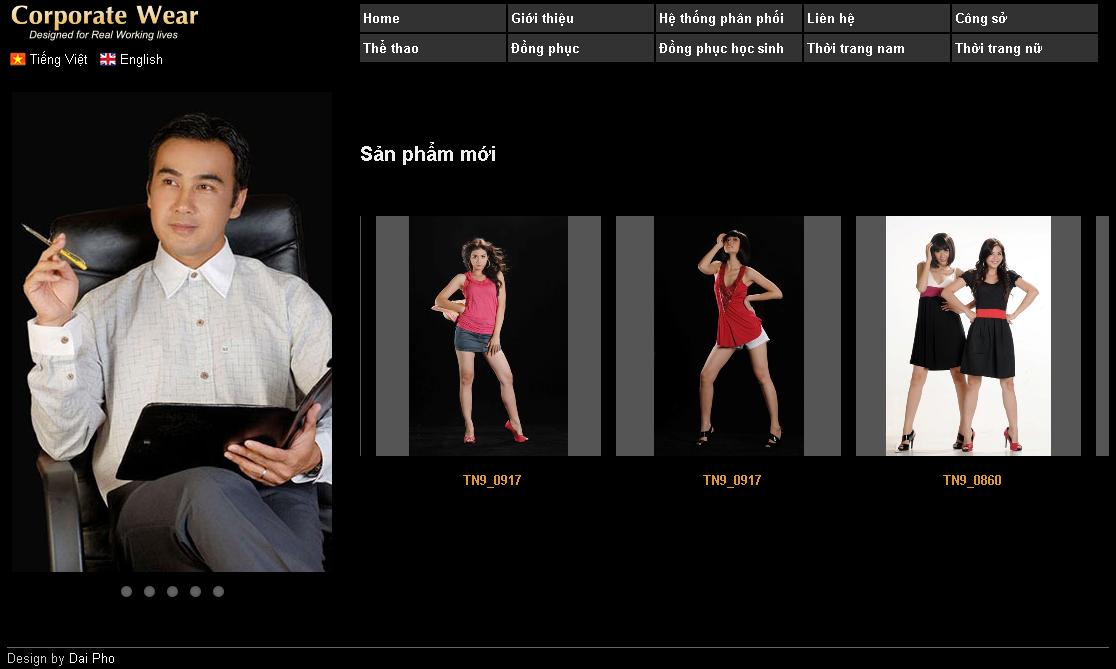 Trang web công ty thời trang Corporatewear