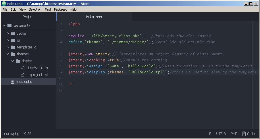 ví dụ viết chương trình Hello World bằng Smarty