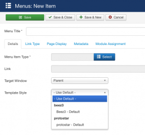 Joomla: Làm thế nào để gán các template khác nhau cho trang hoặc bài viết?