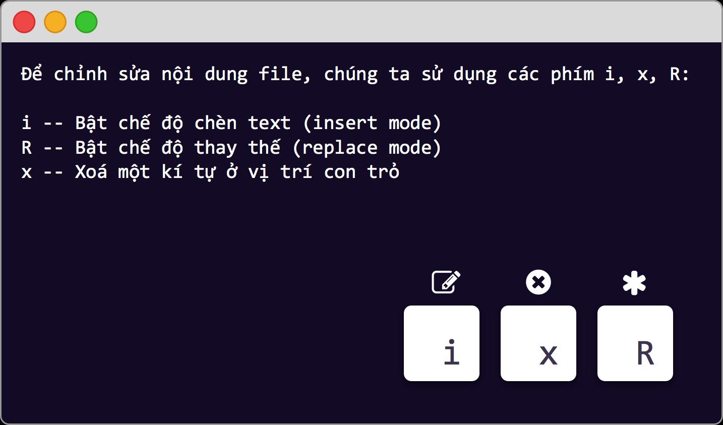 Để sửa nội dung file trong VIM