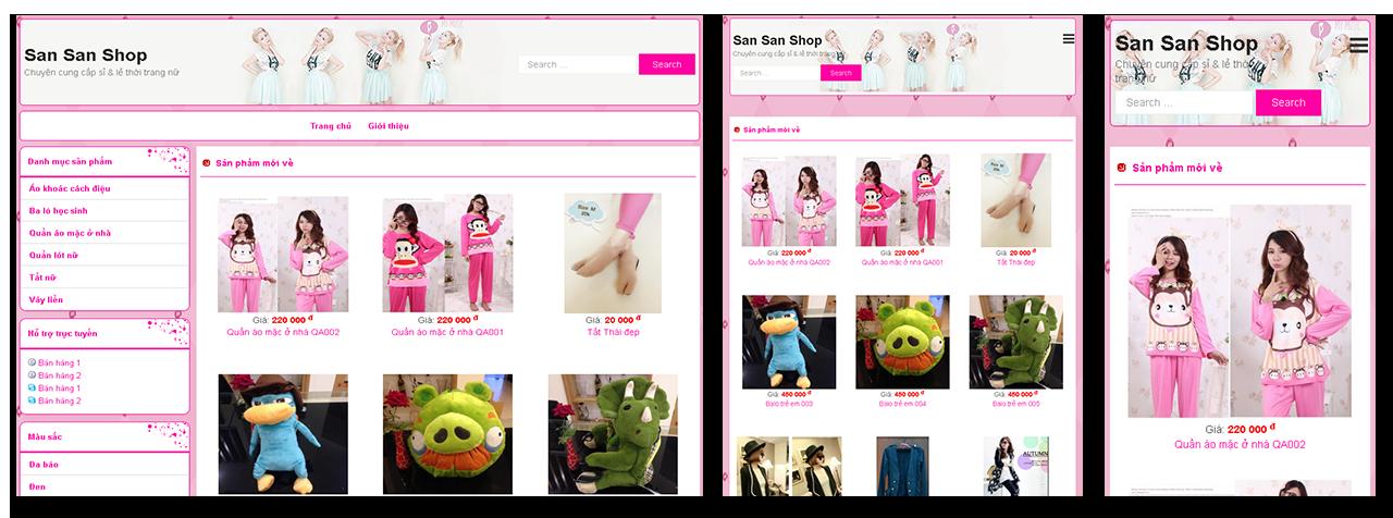 Trang web cửa hàng thời trang San San Shop