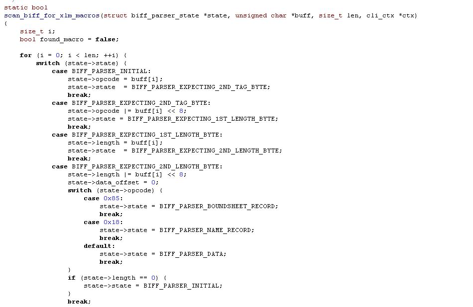 Đoạn code của hàm scan_biff_for_xlm_macros
